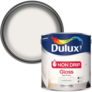 Dulux Non Drip Gloss High Sheen Paint For Wood And Metal - Pure Brilliant White 2.5L