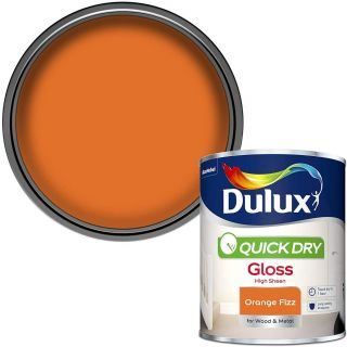 Dulux Quick Dry Gloss Paint For Wood And Metal - Orange Fizz 750 ml