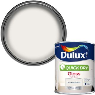 Dulux Quick Dry Gloss Paint For Wood And Metal - Pure Brilliant White 750 ml