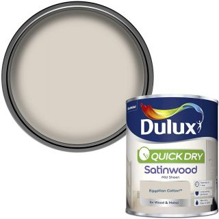 Dulux Quick Dry Satinwood Paint For Wood And Metal - Egyptian Cotton 750Ml
