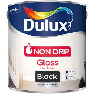Dulux Non Drip Gloss Paint For Wood And Metal - Black 2.5L