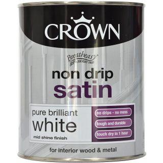 Crown Non Drip Satin - Pure Brilliant White 750ml