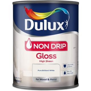 Dulux Non Drip Gloss Paint For Wood And Metal - Pure Brilliant White 750 ml
