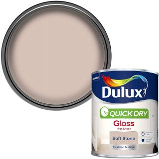 Dulux Quick Dry Gloss Paint For Wood And Metal - Soft Stone 750Ml