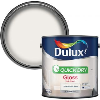 Dulux Quick Dry Gloss Paint For Wood And Metal - Pure Brilliant White 2. 5 Litres