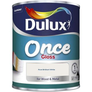 Dulux Once Gloss Paint For Wood And Metal - Pure Brilliant White 750ml