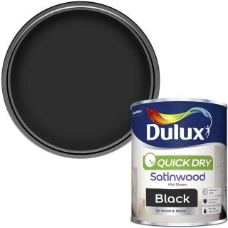 Dulux Quick Dry Satinwood Paint For Wood And Metal - Black 750 ml