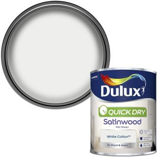 Dulux Quick Dry Satinwood Paint For Wood And Metal - White Cotton 750 ml