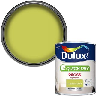 Dulux Quick Dry Gloss Paint For Wood And Metal - Luscious Lime 750Ml