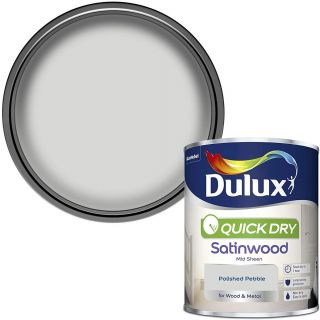 Dulux Quick Dry Satinwood Paint For Wood And Metal - Polished Pebble 750Ml