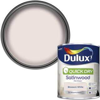 Dulux Quick Dry Satinwood Paint For Wood And Metal - Blossom White 750 ml