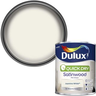 Dulux Quick Dry Satinwood Paint For Wood And Metal - Jasmine White 750 ml