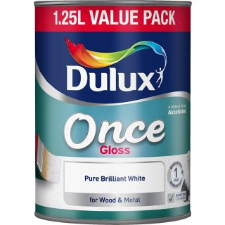 Dulux Once Gloss Paint For Wood And Metal - Pure Brilliant White 1.25L