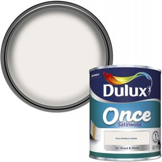 Dulux Once Satinwood Paint For Wood And Metal - Pure Brilliant White 750ml