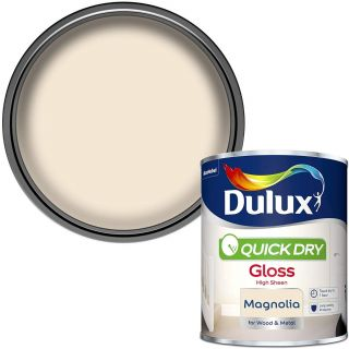 Dulux Quick Dry Gloss Paint For Wood And Metal - Magnolia 750 ml
