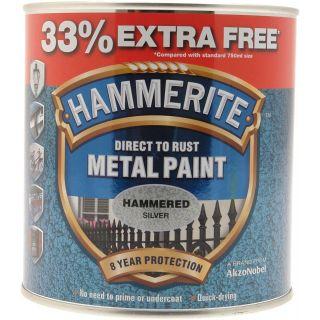 Hammerite Metal Paint Hammered Silver - 750ml