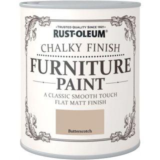 Rustoleum Chalky Finish Furniture Paint Flat Matt - Butterscotch 750ML