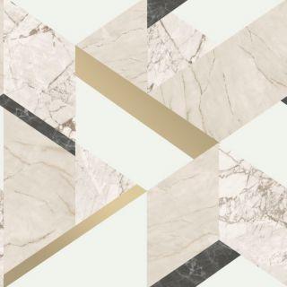 Fine Decor Marblesque Geometric Wallpaper Cream Gold & Black - FD42300