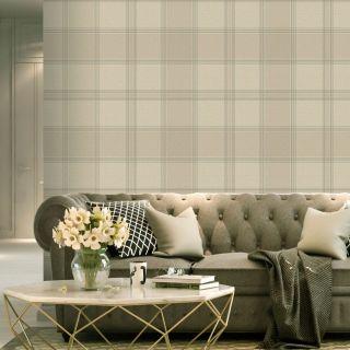 Belgravia Decor Giorgio Check Wallpaper - Beige/Cream 8102