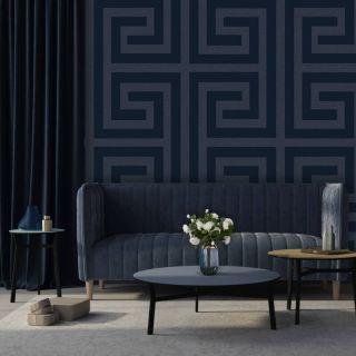Belgravia Decor Giorgio Greek Key Wallpaper - Dark Blue 8110