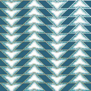 Holden Decor Teton Geometric Chevrons Teal Metallic Wallpaper