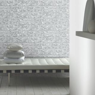 Arthouse White Grey Rustic Old Brick Wall Quality Feature Wallpaper 889606