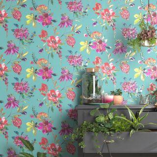 Holden Decor Melgrano Floral Soft Teal Metallic Wallpaper 90520
