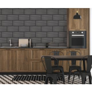 Holden Decor Kitchen/Bathroom Wallpaper - Black 89322