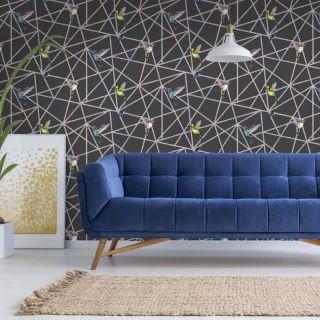 Holden Decor Loja Humming Bird Black Metallic Wallpaper 90501