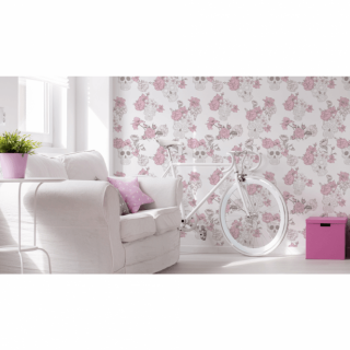 Debona Wallcoverings Skull & Roses Gothic Pink Glitter Shiny 8995