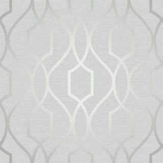 APEX GEOMETRIC TRELLIS WALLPAPER STONE GREY / SILVER - FINE DECOR FD41995