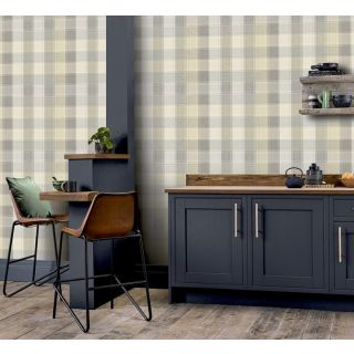 Arthouse Country Check Grey and Yellow Tartan Wallpaper 901902