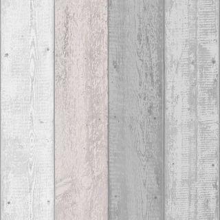 Arthouse Rustic Painted Wood Grain Panel Effect Grey Blush Pink Wallpaper 902809