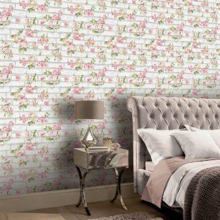 Shabby Chic Brick Pink & White 907605