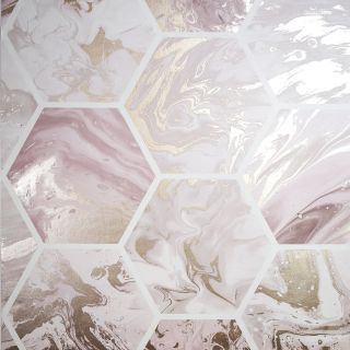 Arthouse Marbled Hexagon Pink/Rose Gold Wallpaper- 908506