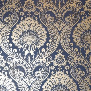 Luxe Damask Navy Gold 910308