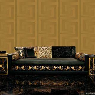 Versace Greek Key Motif Gold Metallic Wallpaper -  93523-2