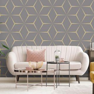 Belgravia Harper Yellow 3D Geometric Glitter Shimmer Feature Wallpaper- 9740