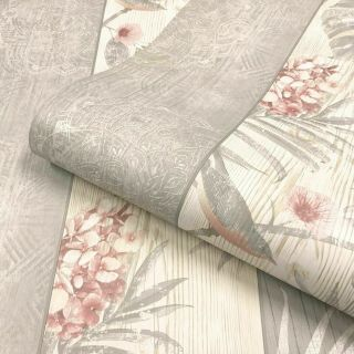 Belgravia Rosa Wood Panel Flowers Leaves Birds Blush Pink Grey Wallpaper- 9781
