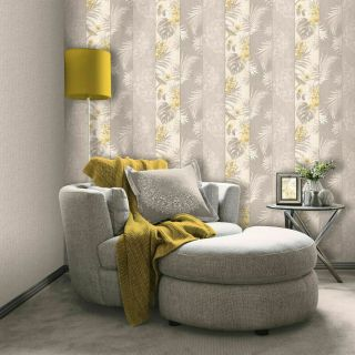 Belgravia Rosa Wood Panel Flowers Leaves Birds Yellow Grey Wallpaper- 9780