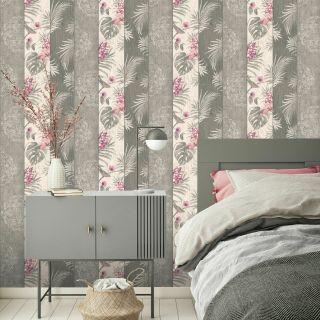 Belgravia Rosa Wood Panel Flowers Leaves Birds Magenta Grey Wallpaper- 9782