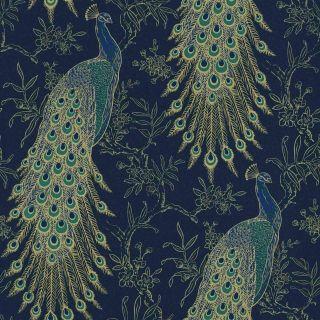 Portfolio Peacock Wallpaper Navy / Gold Metallic Feathers Rasch 215700