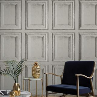 Grandeco Life Wood Panels Grey Wallpaper A49202 - Distressed Wooden Panelling
