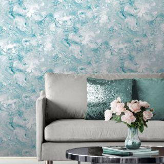 Muriva Elixir Liquid Marble Teal/Silver Metallic Wallpaper- 166503