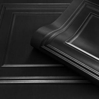 Amara Wood Panel Wallpaper Black by Belgravia Decor GB7378