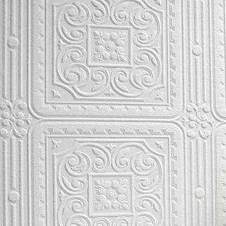 Graham & Brown Blenheim Panel White Paintable Blown Wallpaper 106580