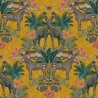 Grandeco Animal Kingdom Tropical Jungle Animal Print Palm Ochre Yellow Wallpaper