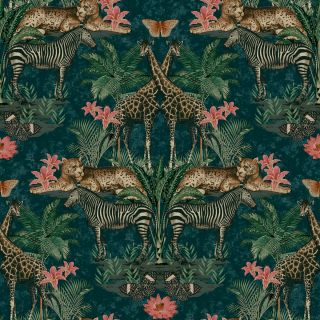 Grandeco Animal Kingdom Tropical Jungle Animal Print Palm Teal Wallpaper
