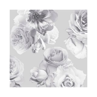 Arthouse Floral Bloom Mono Silver Metallic Wallpaper 902900