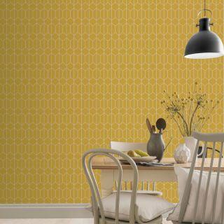Arthouse Linear Geometric Ochre Wallpaper - 909701